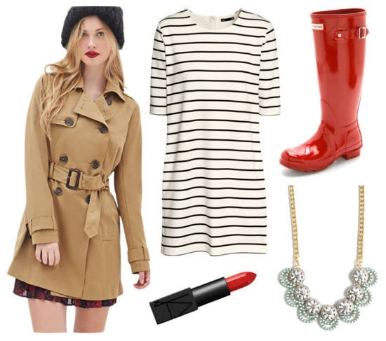tan trench, red rain boots, striped dress