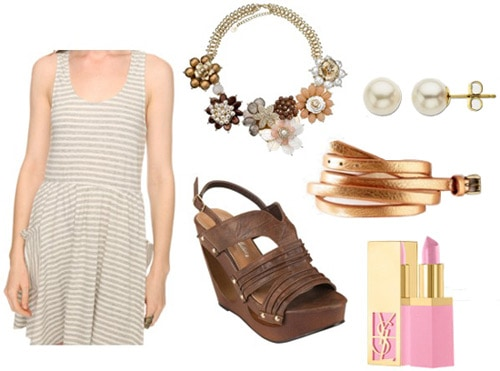 How to wear a striped dress with wedges and jewelry
