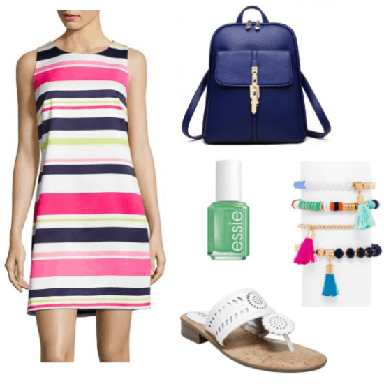 How to Wear Multicolored Stripes: Outfit with pink, white, navy and green striped shift dress, navy blue backpack, colorful friendship bracelets with tassels, white Jacks sandals, and mint green nail polish from Essie