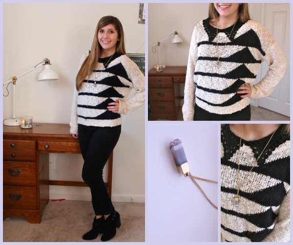Striped-Geometric-Sweater-White-and-Black-Purple-Crystal-Necklace-Black-Jeans.