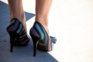 Striped high heels