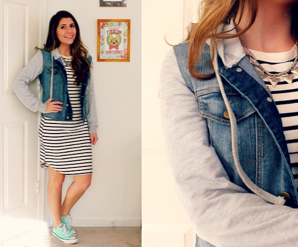 Striped-Navy-and-Whtie-Dress-Denim-Jacket-With-Hoodie-Sleeves-Mint-Converse-Triangle-Necklace