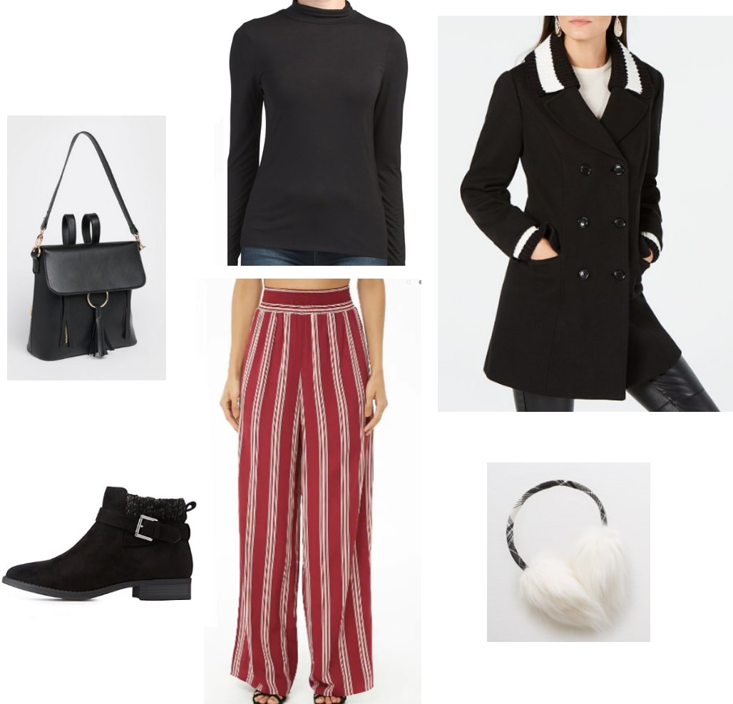 How to wear striped wide leg pants to class: Turtleneck top, red wide leg pants, knit collar coat, black backpack, white furry earmuffs, black ankle boots