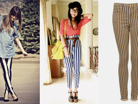 Vertical striped pants trend