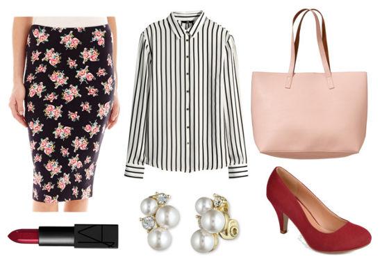 Striped shirt floral skirt red heels