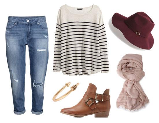boyfriend jeans, striped sweater, booties