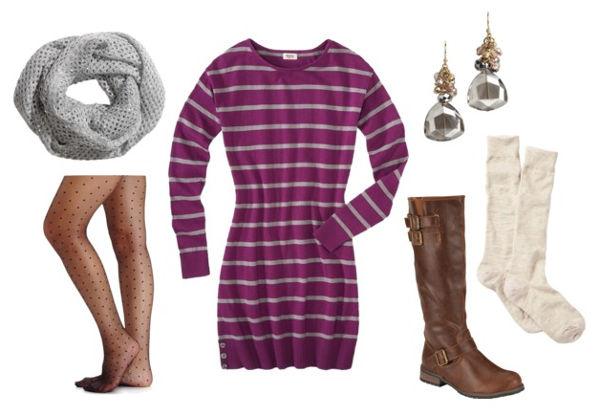 Striped sweater dress polka dot tights