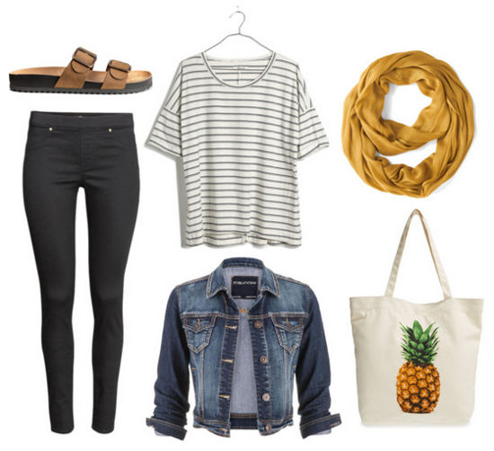striped tee, denim jacket, and jeggings
