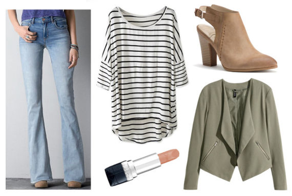 Striped tee flare jeans green jacket