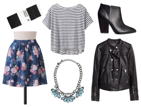 Striped tee floral skirt leather jacket