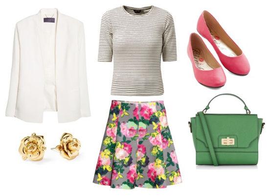 Striped tee floral skirt white blazer