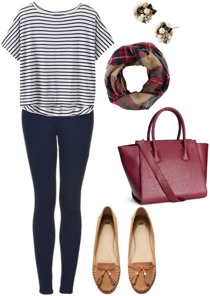 Striped tee, jeans, loafers, plaid scarf