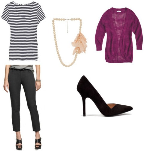 Striped tee outfit 1: Black pants, pumps, cardigan