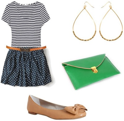 Striped tee outfit 2: Skirt, bright clutch, flats