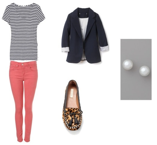 Striped tee outfit 3: Coral jeans, loafers, blazer