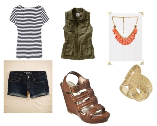 Striped tee outfit 4: Denim shorts, wedges, vest