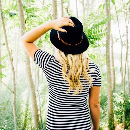 Woman wearing a striped tee