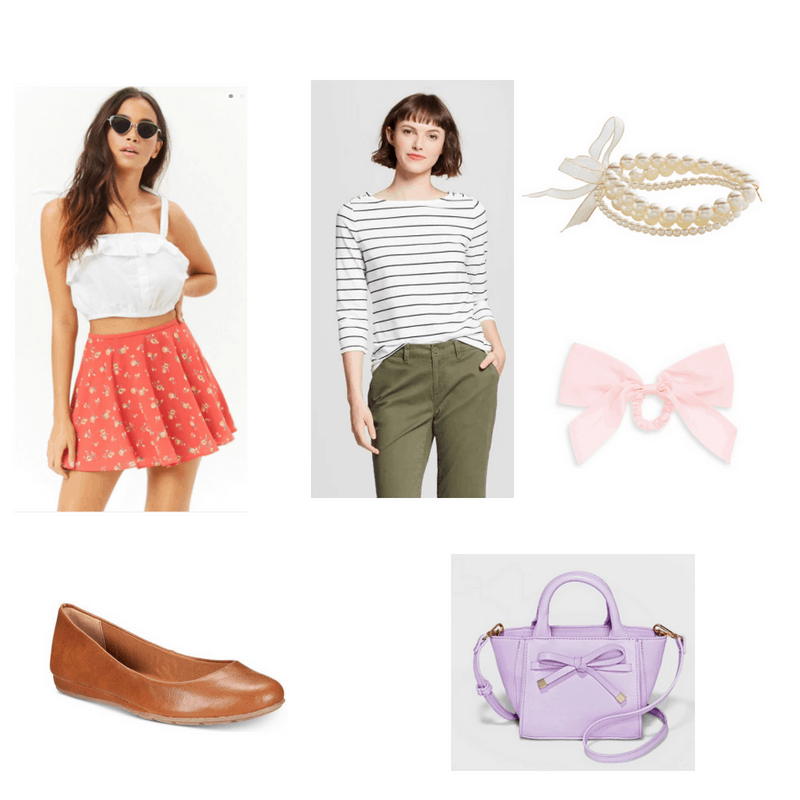 Outfit with striped tee, red floral skirt, brown flats, pearl bracelets, pink bow hairtie, and pastel purple mini bag