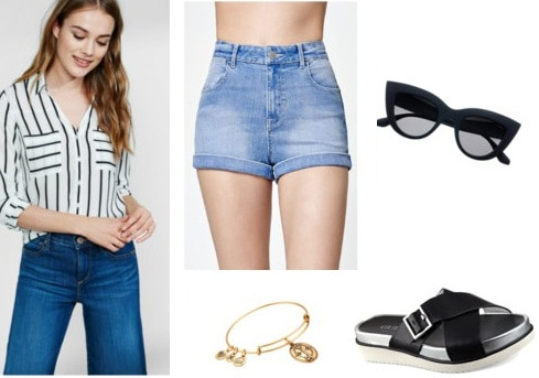 How to wear a striped top for daytime with shorts, sandals, sunglasses, and a bangle bracelet
