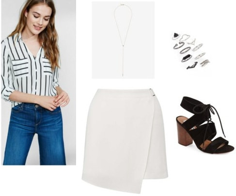 How to wear a striped top for a night out with a skort, necklace, and heels