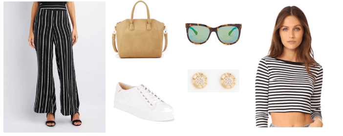 Striped crop top outfit idea: Vertical striped pants, tan tote bag, white sneakers, simple stud earrings, sunglasses