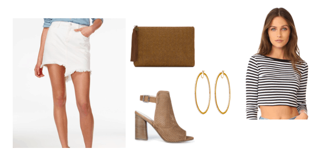 Striped crop top outfit idea for night: White ripped denim skirt, open-toe boots, gold hoops, brown clutch