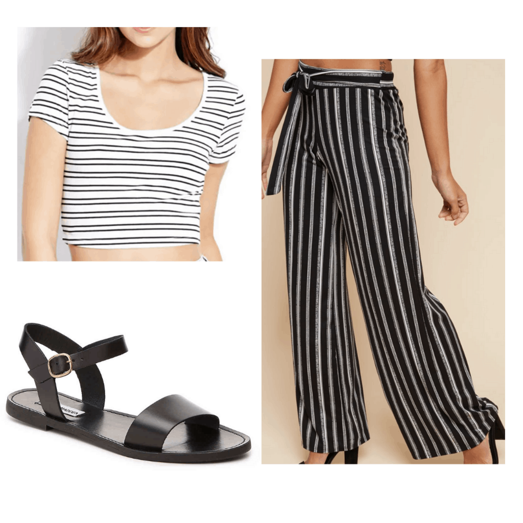 Black and white striped crop top and pants, black sandals
