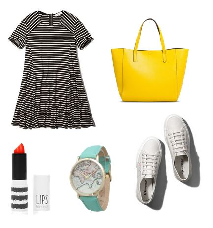 striped dress and white sneakers