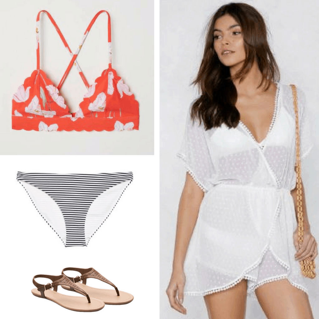 For a bold look at the pool, pair a bright orange floral bikini top with classic striped bikini bottoms! Throw on a fun transparent white romper that will show off your multi-patterned swim suit.