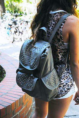 Studded backpack uf campus street style