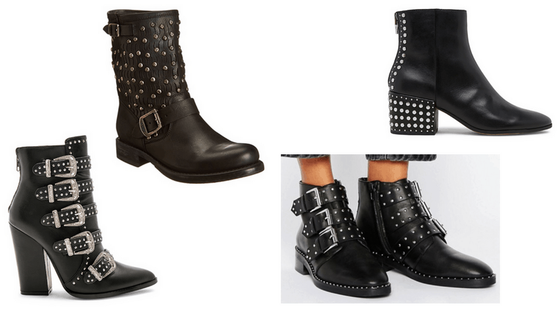 Studded boots: High heeled buckle studded boots, Frye motorcycle boots with studs, low heel buckle boots, slip-on studded heel boots in black