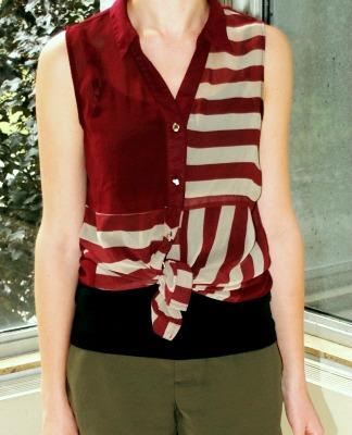 Student fashion burgundy striped top