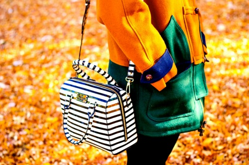 Student street style striped bag