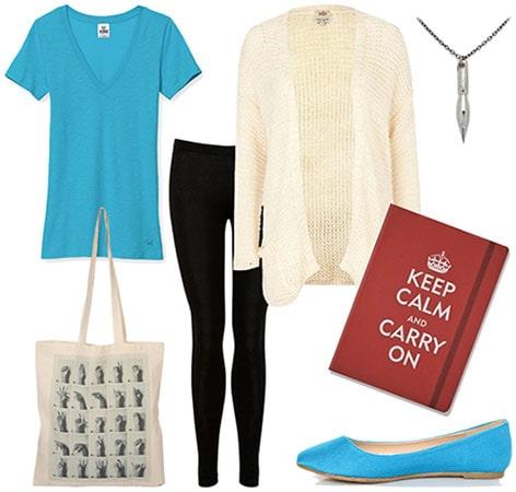 Studious girl outfit: Basic tee, long cardigan, leggings, pen necklace, notebook, flats, tote bag