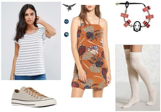 Outfit inspired by Spirited Away movie: Orange dress worn over a striped tee shirt, gray Converse sneakers, high socks, cute jewelry