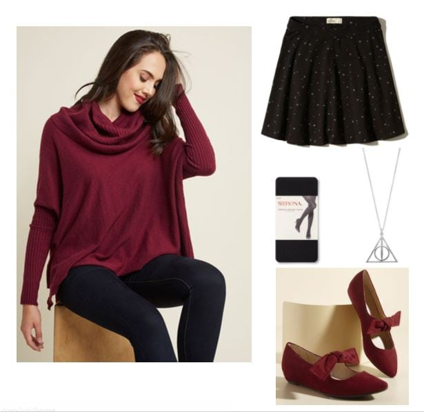 Study outfit for a study date: Cozy red cowl neck sweater, cute polka dot skirt, Deathly Hallows necklace, bow flats, black opaque tights