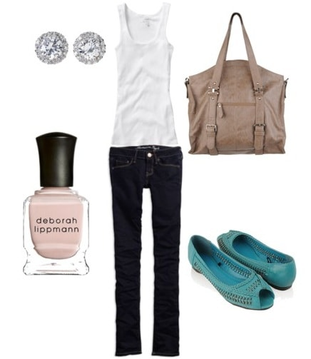 Classic outfit with white tank and dark wash jeans