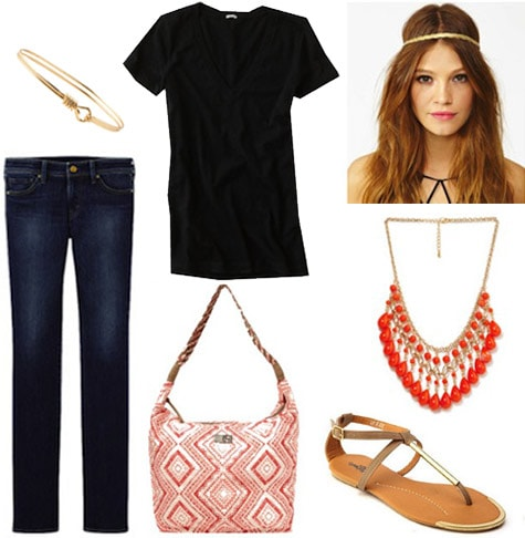Style remix: Black tee and skinnies styled with metallic sandals, a coral bag, red statement necklace, and hippie headband