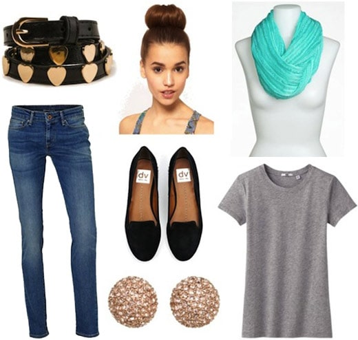 Style remix: Grey tee and skinnies styled with loafers, stud earrings, a belt, and statement scarf
