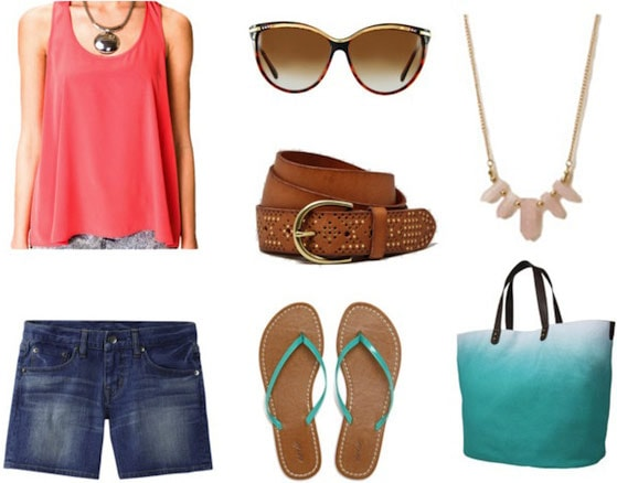 How to wear a tank top and shorts - beach outfit