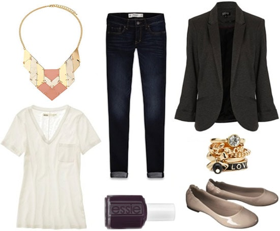 Style remix: White tee and skinnies styled with nude flats, a blazer, statement necklace, and chunky ring