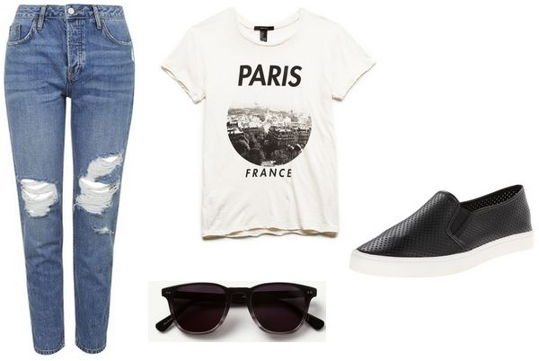 graphic tee, jeans, faux leather slip-ons