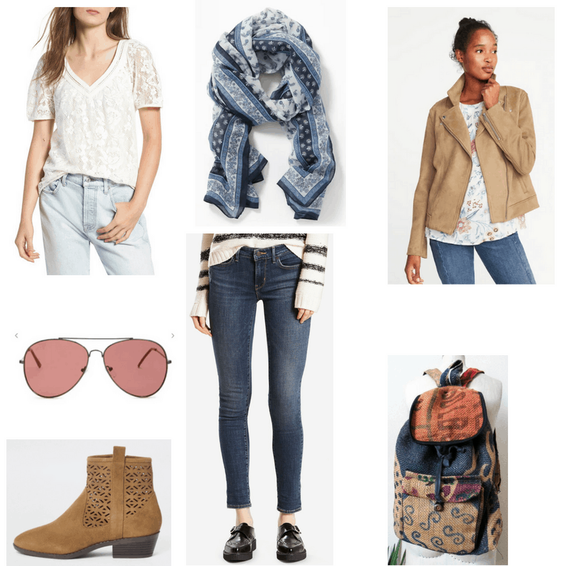 Outfit with white lace top, suede jacket, paisley scarf, skinny jeans, ankle boots, aviator sunglasses, and backpack