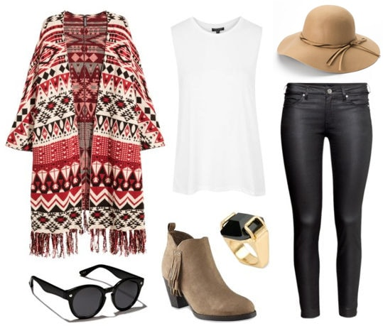 Boho chic outfit with suede booties, printed cardigan, skinny jeans, white tank, floppy hat