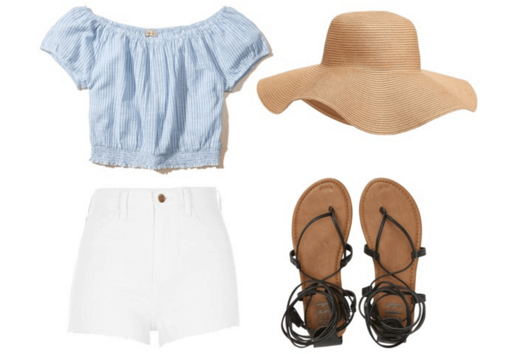 Striped top, white shorts, floppy hat.