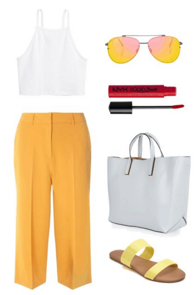 White crop top, yellow pants, yellow sandals.