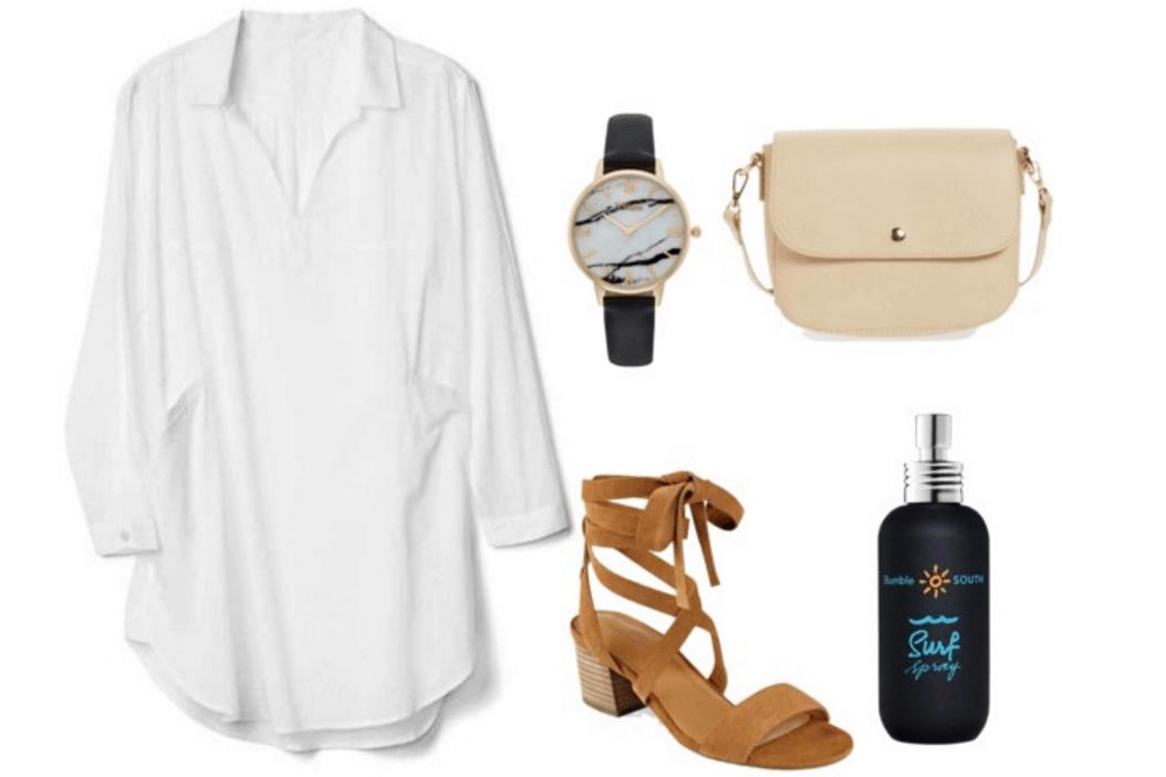White shirtdress, sandals, beach spray.