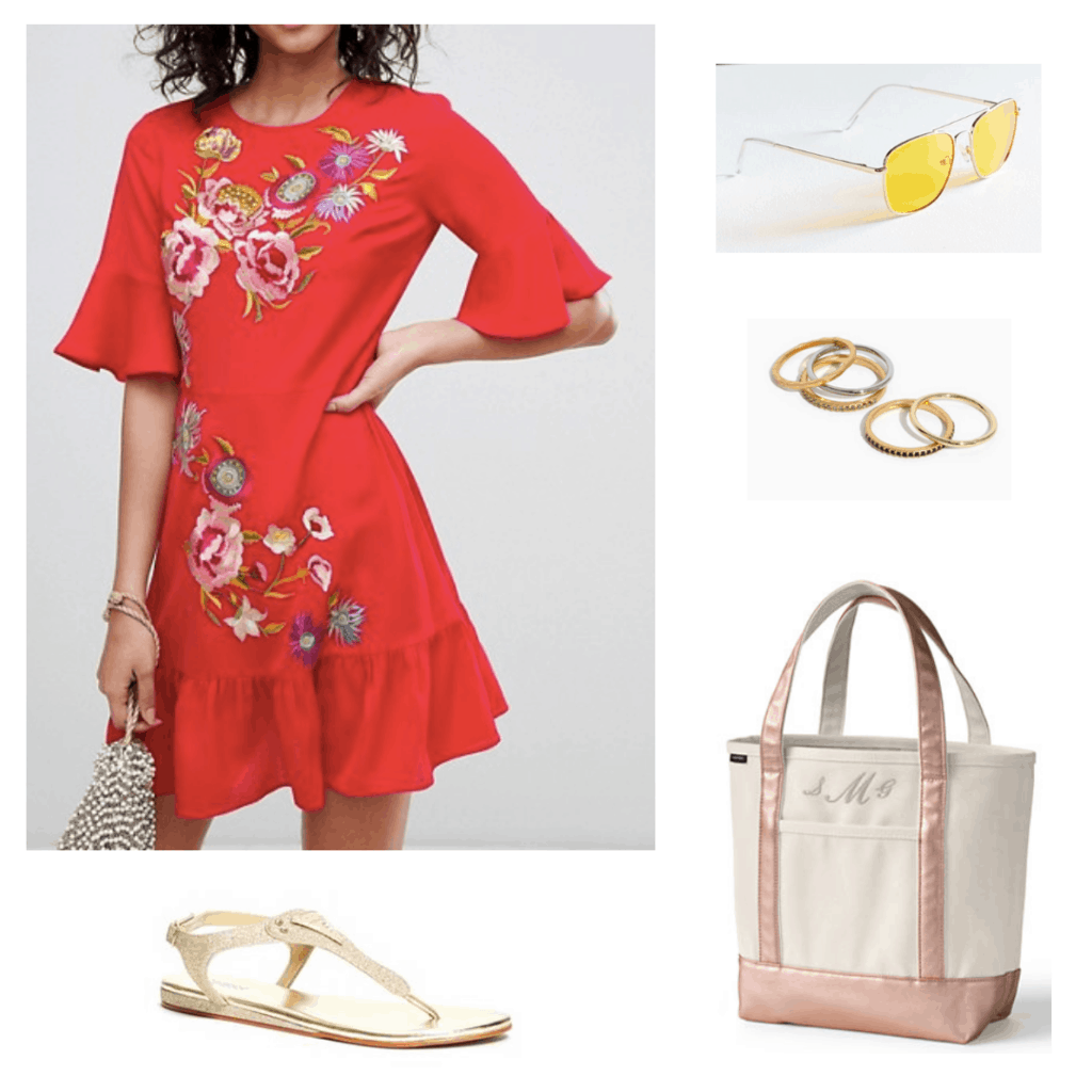 summer outfit with a colorful dress and gold sandals