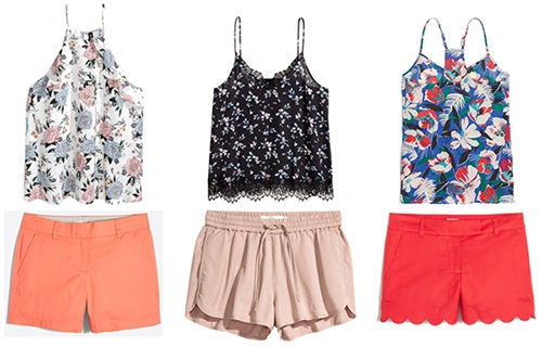 Summer college outfits: Outfit formula of colorful shorts and a patterned tank. Orange shorts with pink and blue pastel floral tank, rose shorts with black and blue and white tank, red scalloped shorts with red, blue and white tank