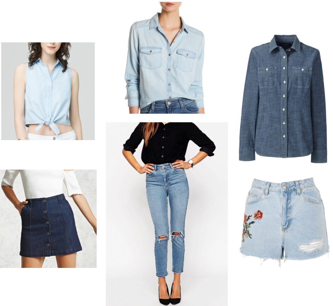 Summer college outfits: Denim on denim. Try pairing a chambray shirt with denim bottoms. Includes: Tie-front chambray tank, light wash chambray shirt, dark wash chambray shirt, dark wash button front denim skirt, medium wash mom jeans, light wash embroidered shirts